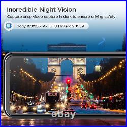 TOGUARD 4K Mirror GPS Dash Cam 12 Voice Control Car RearView Backup Dual Camera
