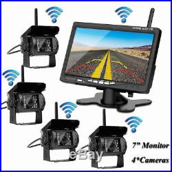 Wireless 7 Monitor+Rear/Side View Backup Camera4 System For Truck VAN Trailer