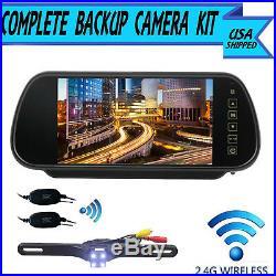 Wireless Car Rear View Kit 7 LCD Mirror Monitor + Ir Back Up Camera