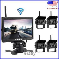 Wireless IR Rear View Back up Camera System + 7 Monitor For Truck RV Car 12-24V